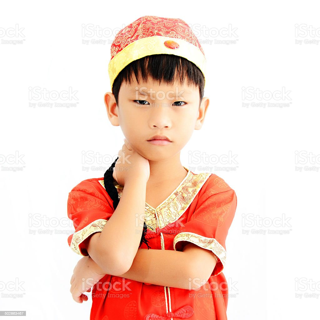 China boy in traditional chinese red tang suit greeting stock photo china boy in traditional chinese red tang suit greeting royalty free stock photo m4hsunfo