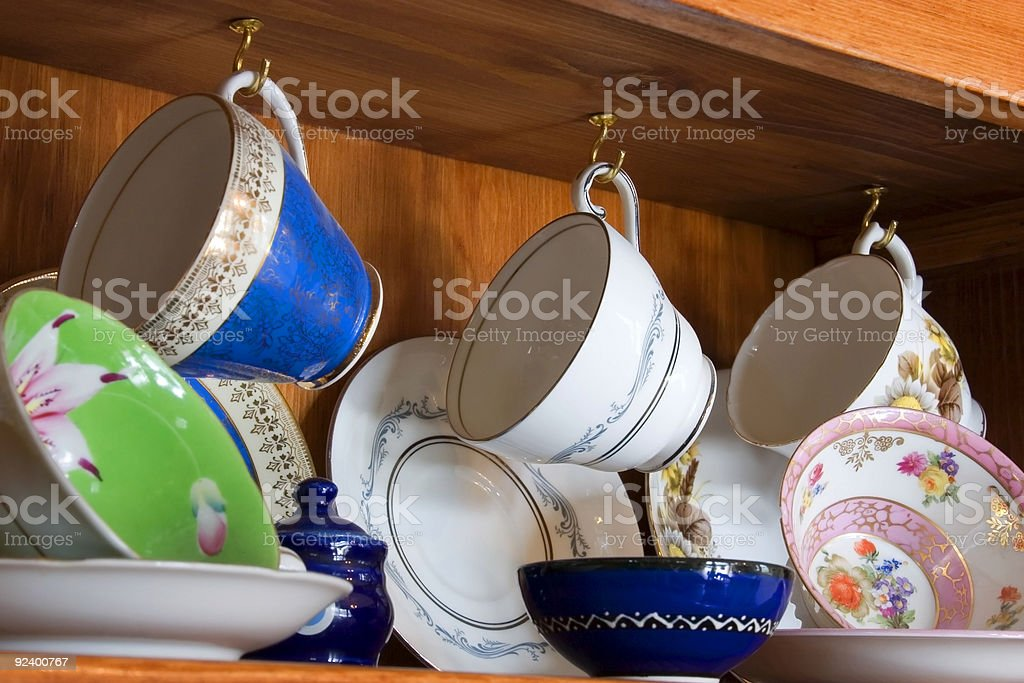 China Cabinet full of Cups royalty-free stock photo