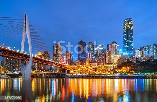 Chongqing architectural scenery and rivers and sky at night