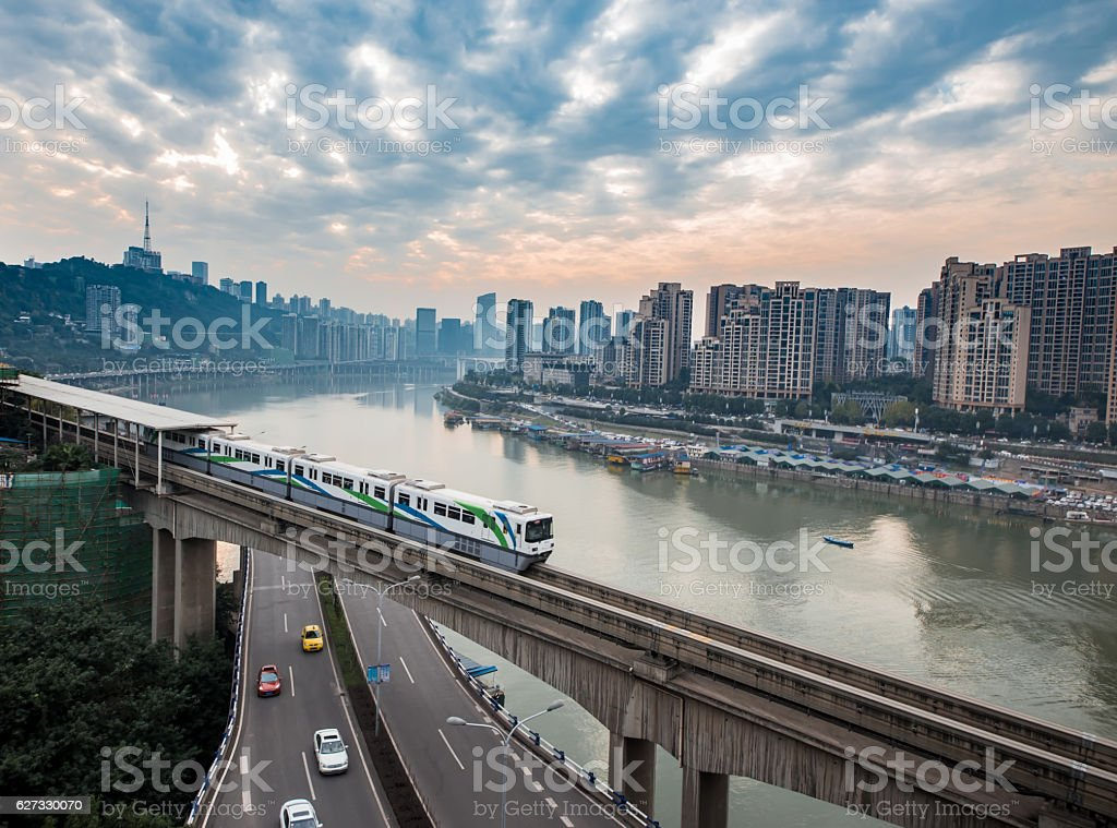 China Chongqing elevated light rail, modern city traffic perspective. stock photo