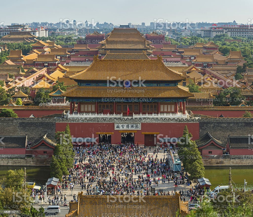 China crowds of people Forbidden City palace gate Beijing China stock photo