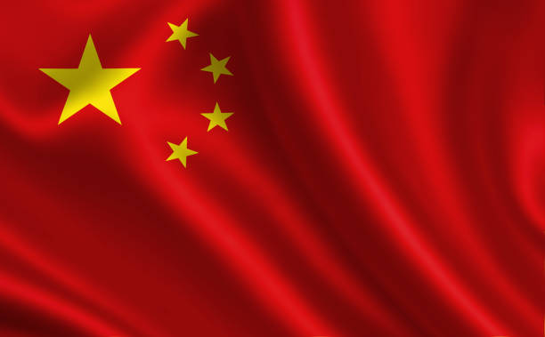 "china flag. a series of ""flags of the world."" (the country - china flag) - cinese foto e immagini stock"