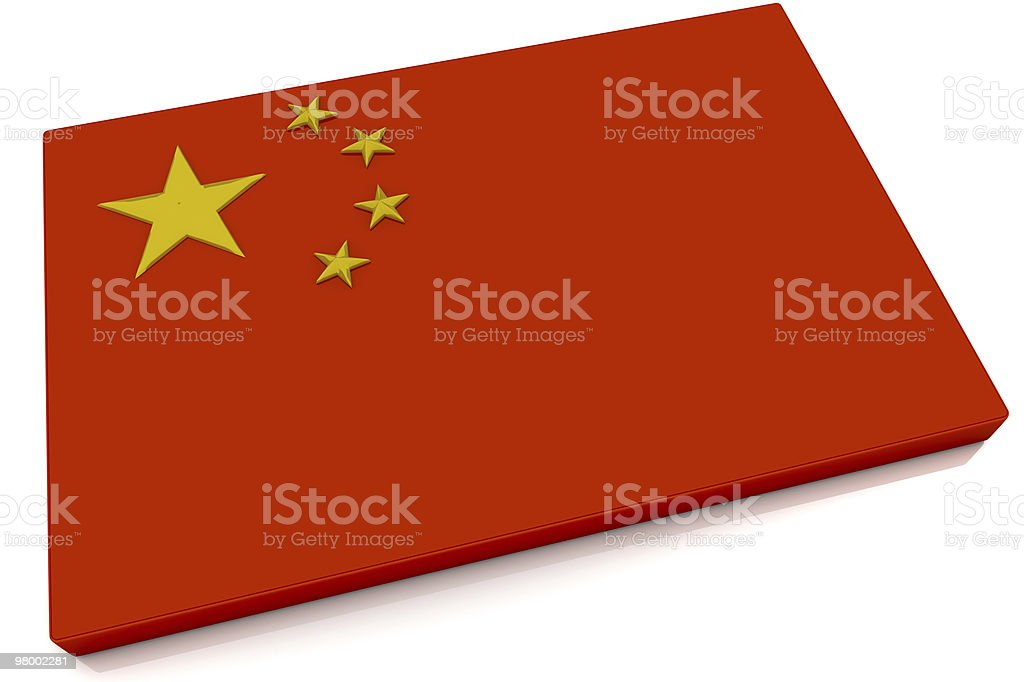 3D China Flag Button royalty-free stock photo