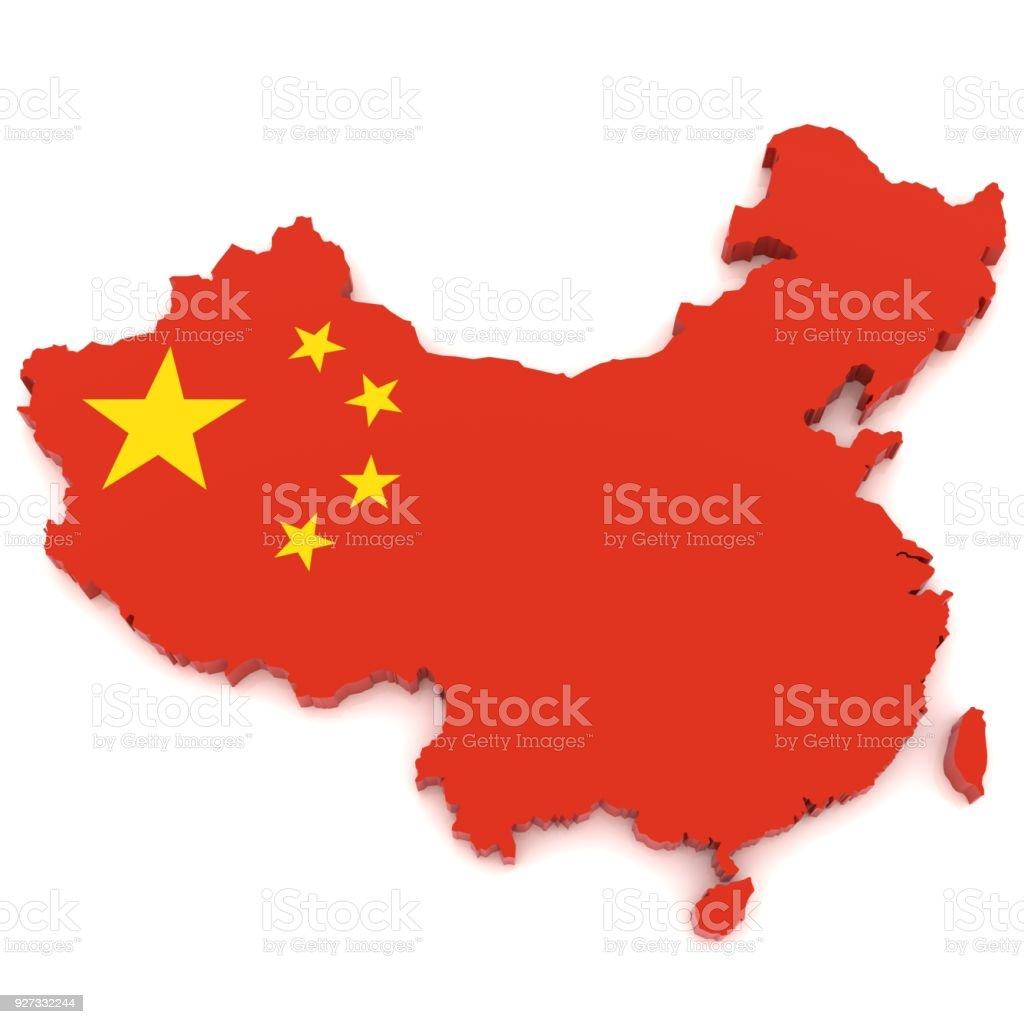 China-Flagge, Karte – Foto