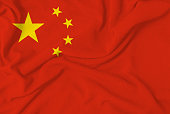 official china flag on cotton fabric illustrating nationalism