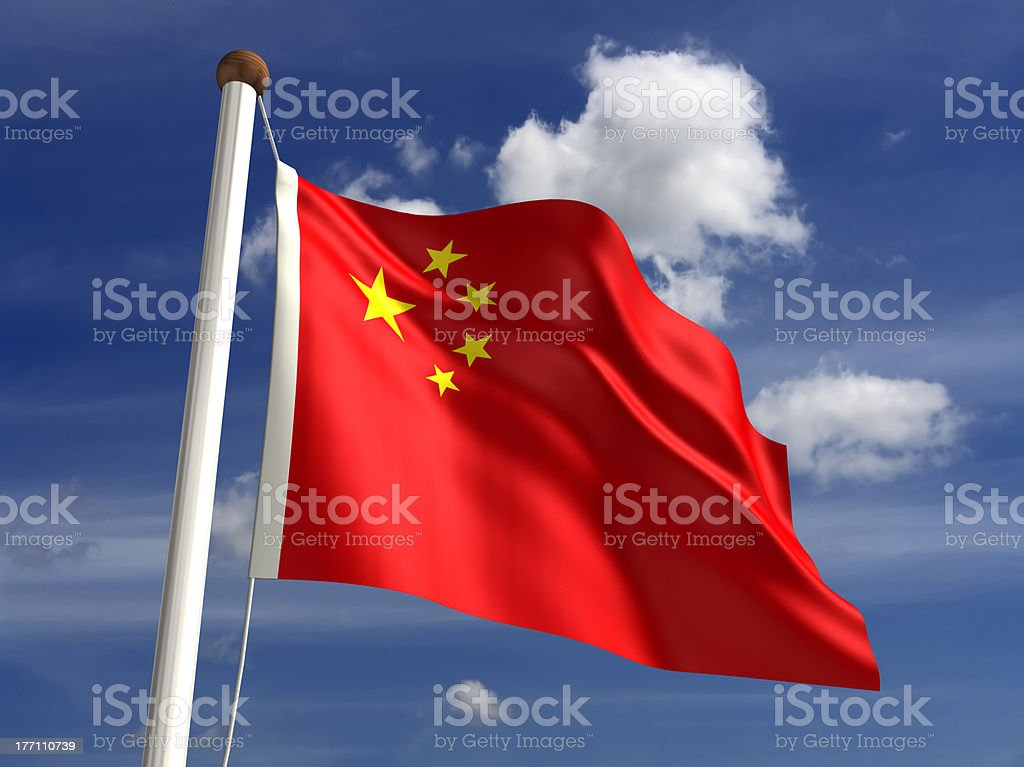 China flag (with clipping path) stock photo