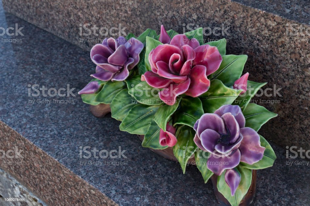 China flowers on a tombstone stock photo