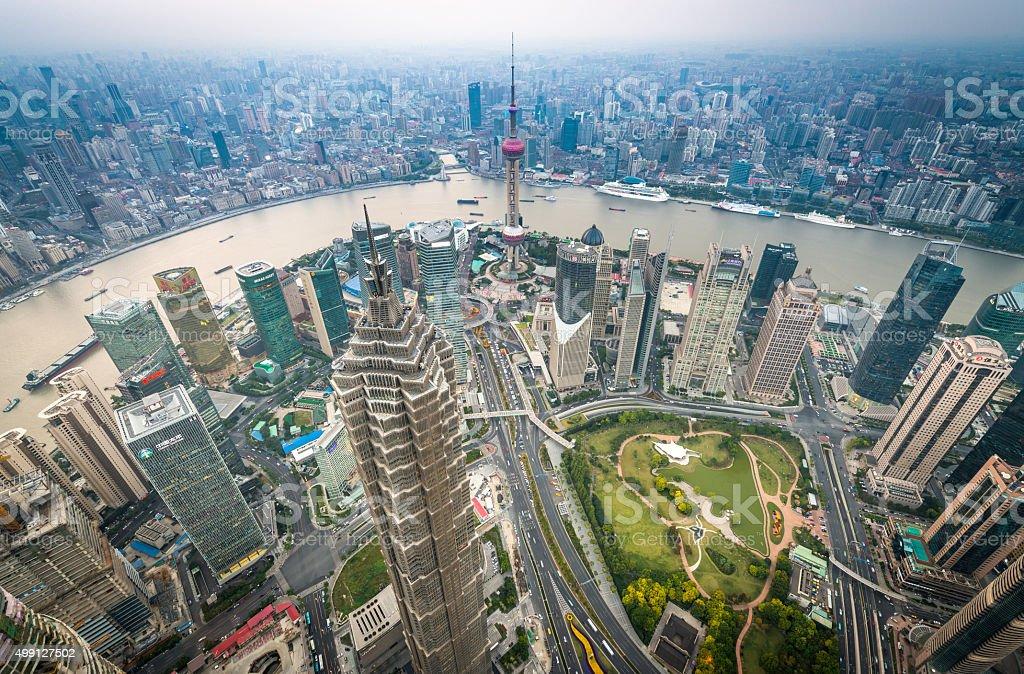 China futuristic city skyscrapers overlooking Huangpu River Pudong landmarks Shanghai stock photo