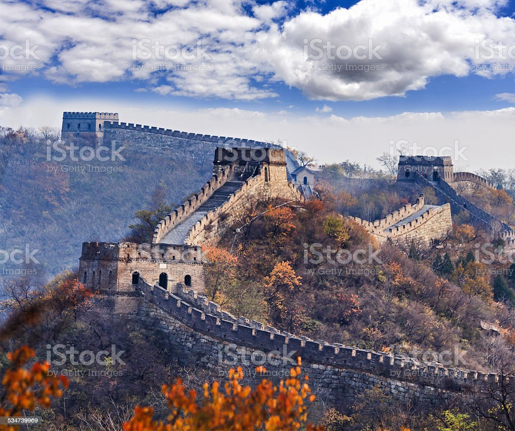 China Great Wall Tele leaves stock photo