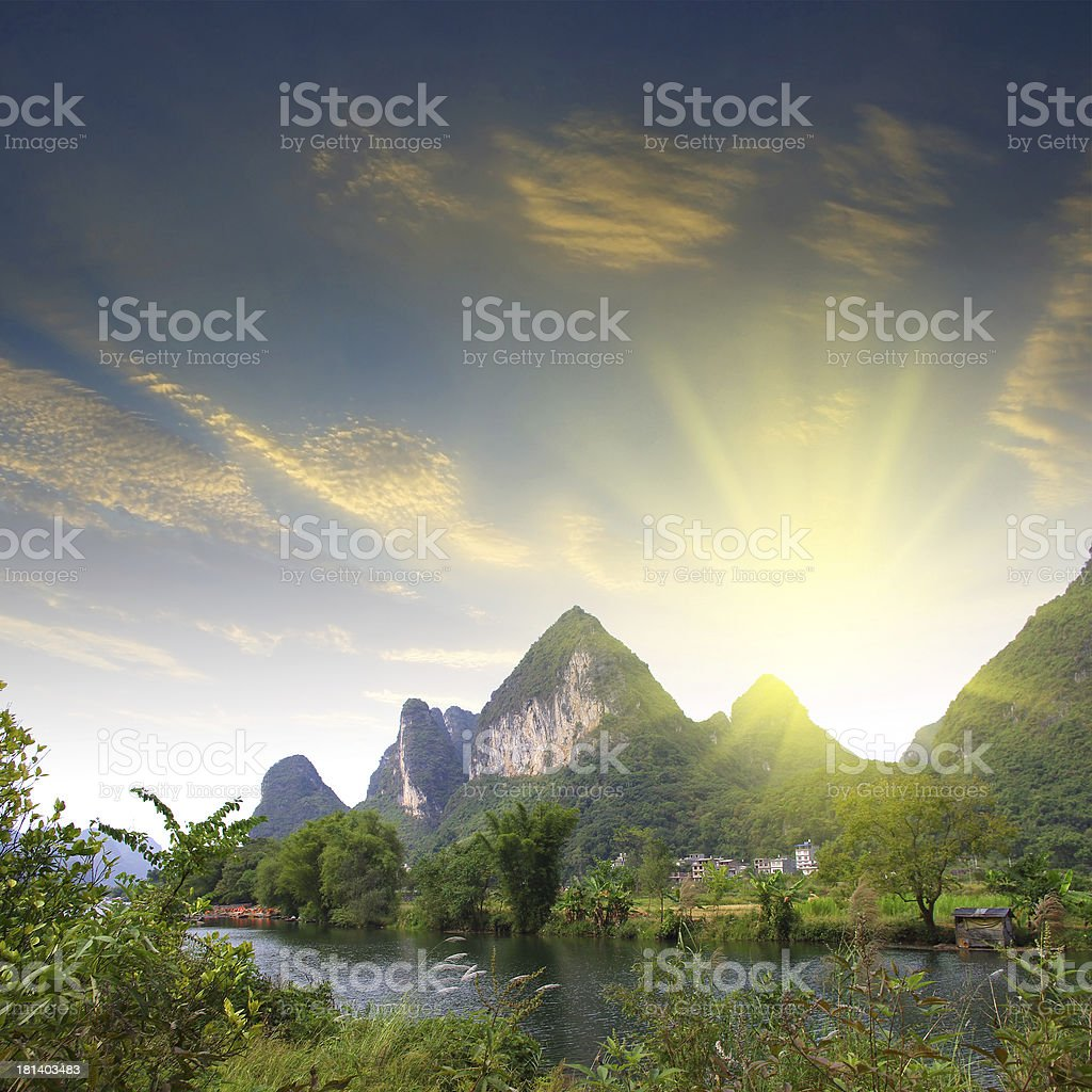 China Guilin rafting royalty-free stock photo