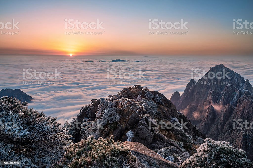 China Huangshan sea of clouds at sunrise stock photo
