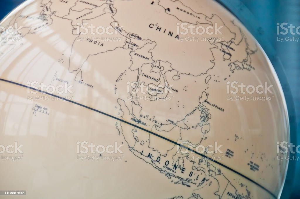 Asien Länder Karte.China Indien Und Südostasien Länder Karte In Einer Retroalte