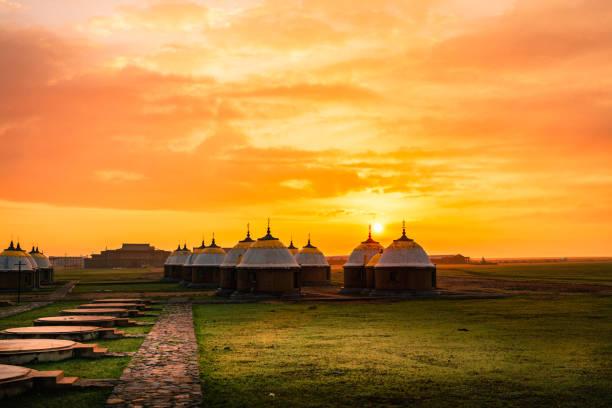 Innere Mongolei China Jurten Grasland panorama – Foto