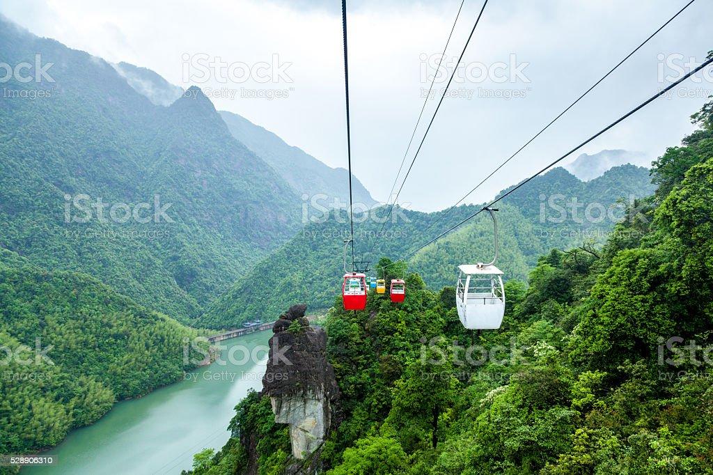 China Jiangxi, forest ropeway China Jiangxi, forest ropeway Asia Stock Photo