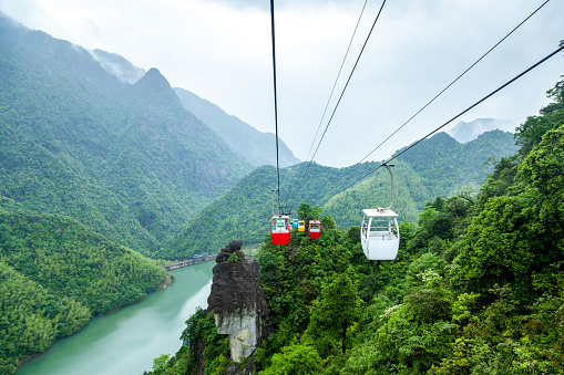 China Jiangxi Forest Ropeway Stock Photo - Download Image Now