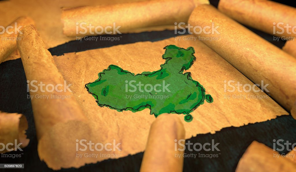 China Map Painting Unfolding Old Paper Scroll 3D stock photo