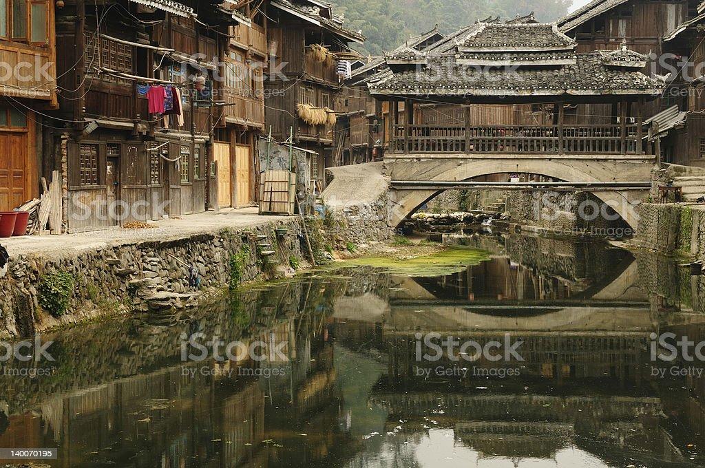 China - minority village stock photo