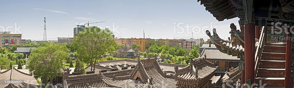 China modern cityscape ancient temples panorama royalty-free stock photo