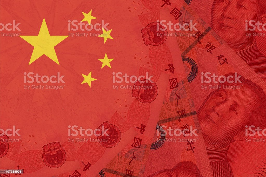 China national flag overlaid with Yuan renminbi banknotes. Chinese money and political situation. Concept of Chinese financial and business markets changes - Royalty-free Asia Stock Photo