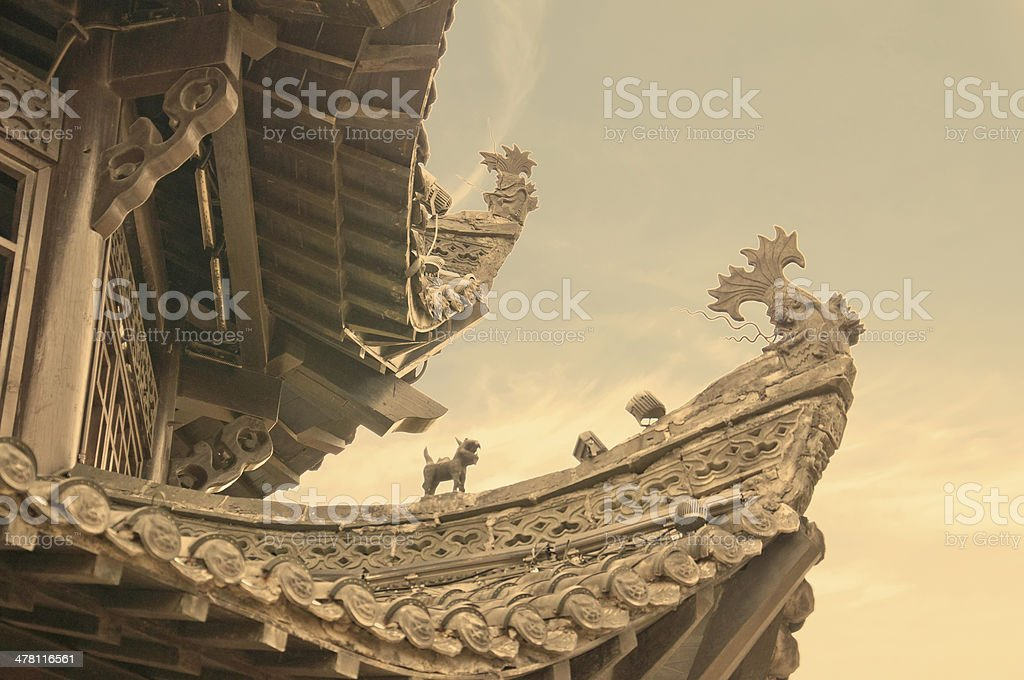 china pavilion roof detail stock photo