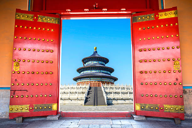 China Ancient door and traditional Chinese building. forbidden city stock pictures, royalty-free photos & images