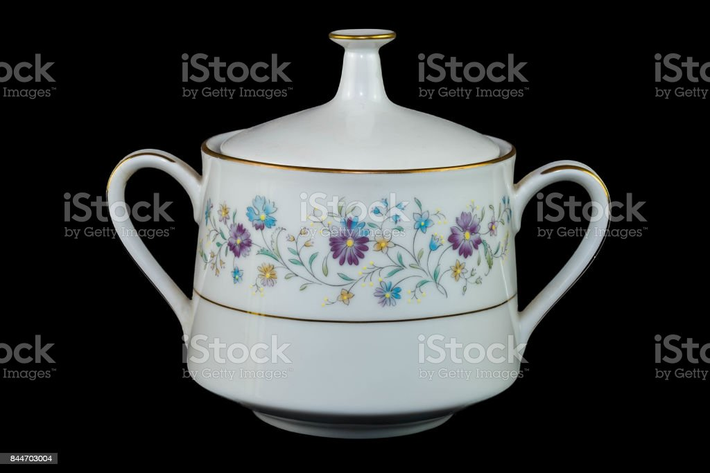 China Pot Floral Pattern for Jam or preserves stock photo