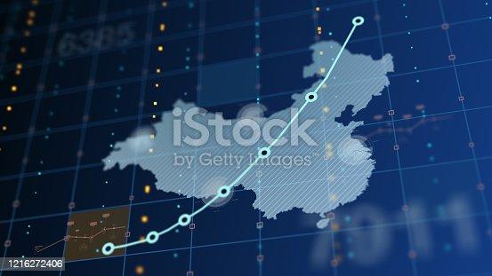 656082444 istock photo China Rising Chart, Death Tolls, Unemployment 1216272406