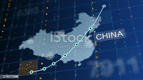 656082444 istock photo China Rising Chart, Death Tolls, Unemployment - With Country Label 1216272398