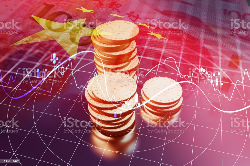 China 's economic and financial stock market data stock photo