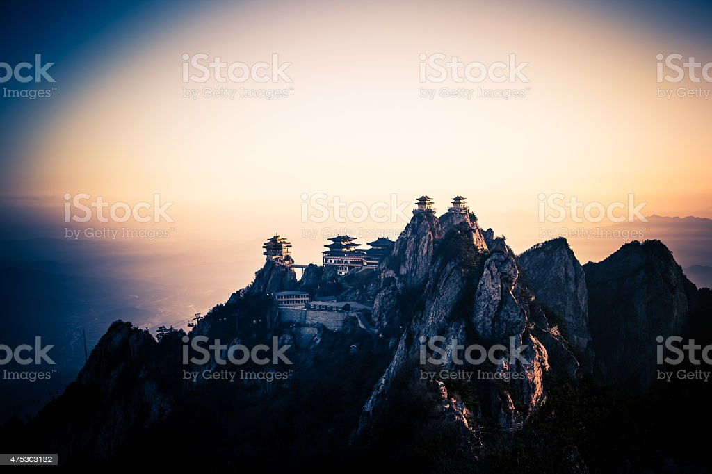 China Sacred Taoist laojun Mountain temples stock photo