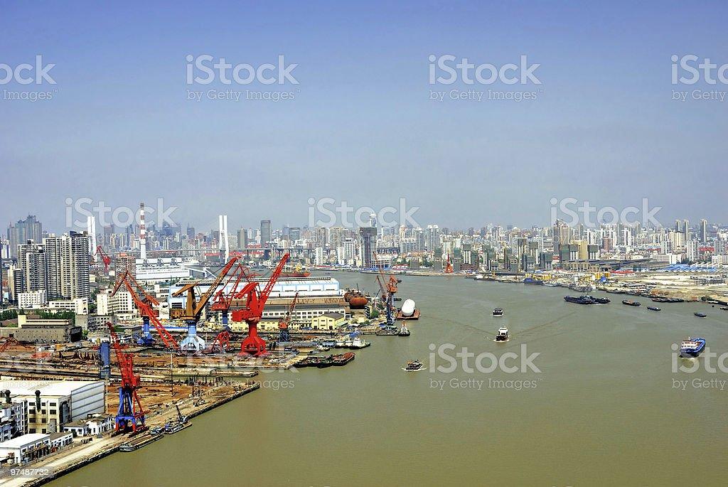 China Shanghai, Huangpu river and the harbor. royalty-free stock photo