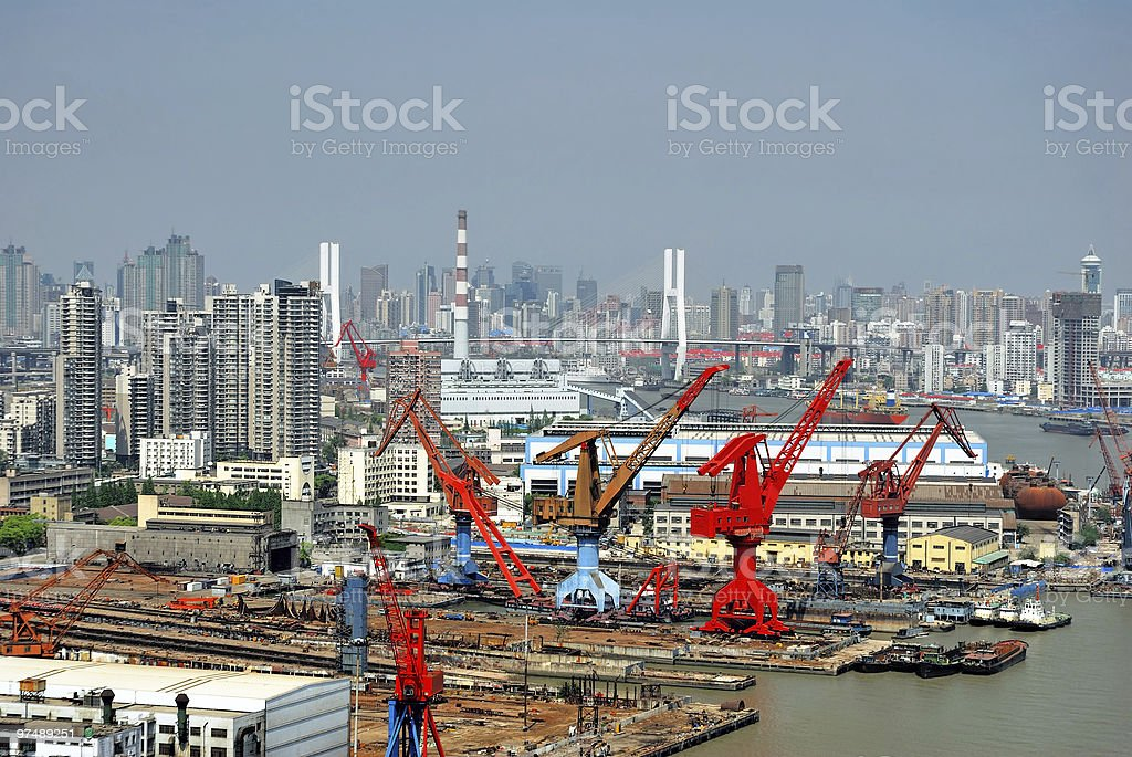China Shanghai, Huangpu river and the harbor. royalty-free stock photo