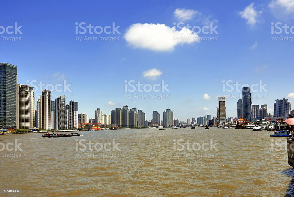 China Shanghai, Huangpu riverfront buildings royalty-free stock photo