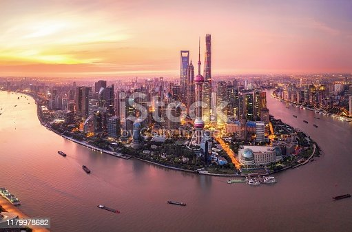 Morning of Lujiazui's buildings