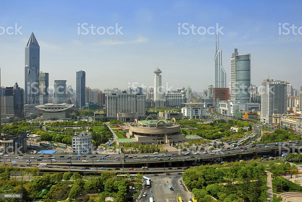 China Shanghai People square  Aerial View Stock Photo