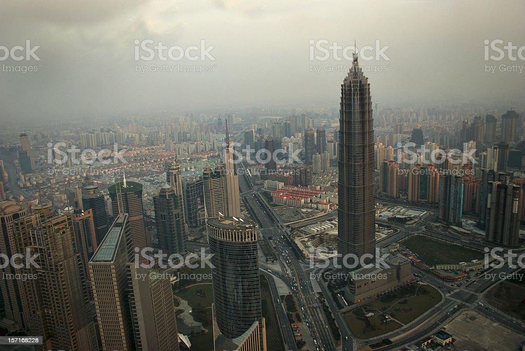 China: Shanghai Pudong, Jin Mao tower (Hyatt) royalty-free stock photo