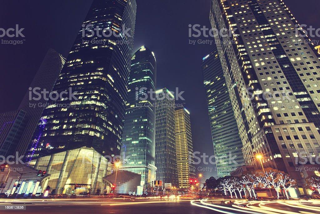 China Shanghai Pudong, the city night stock photo