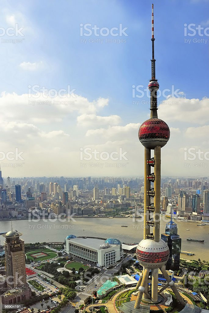 China Shanghai the Bund and Puxi skyline royalty-free stock photo