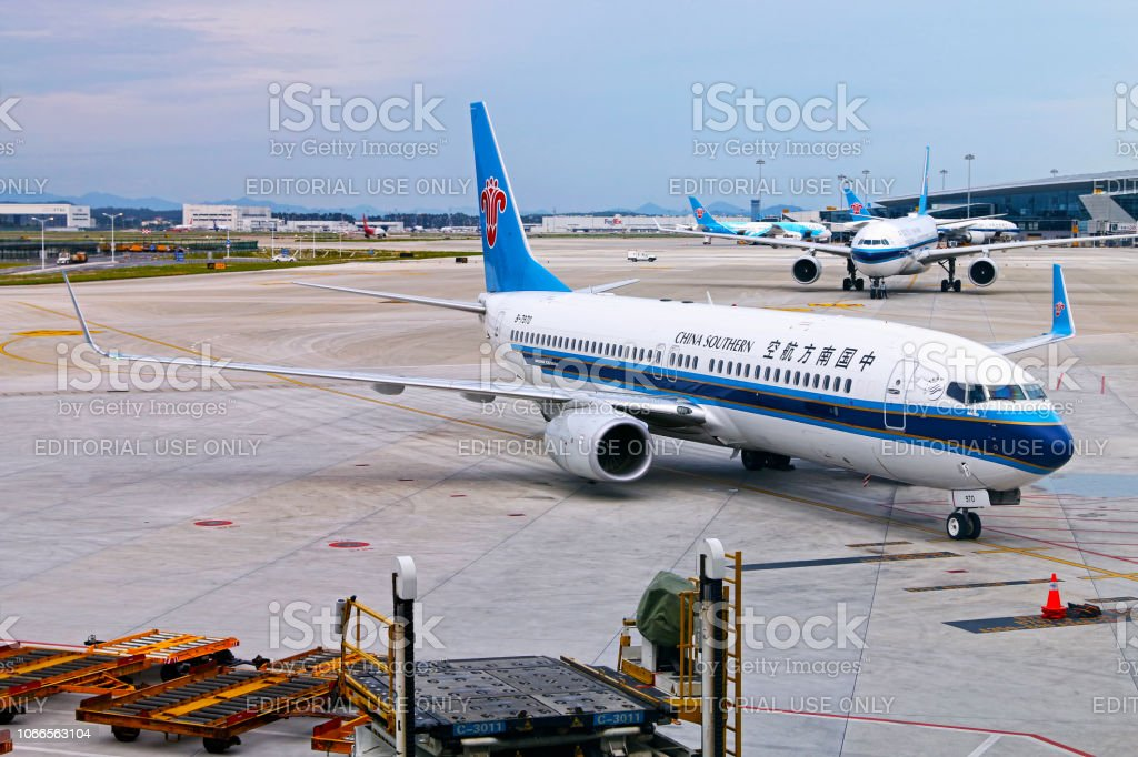 China Southern aircrafts in Guangzhou airport stock photo