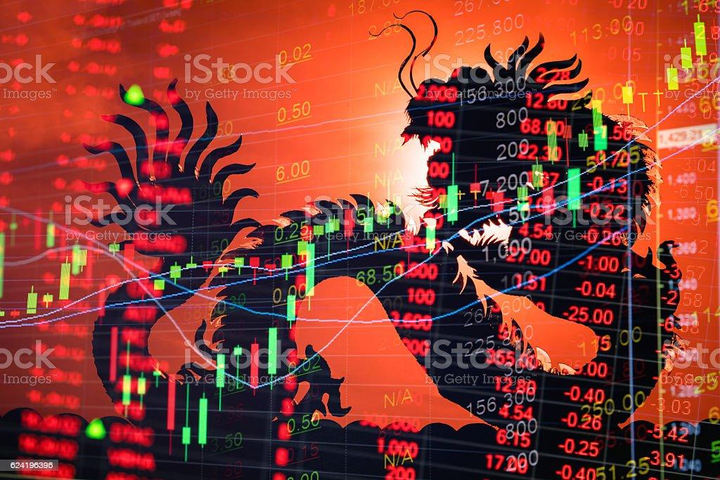 China stock market graph ticker stock photo