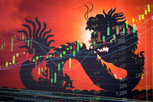 China stock market graph ticker stock photo