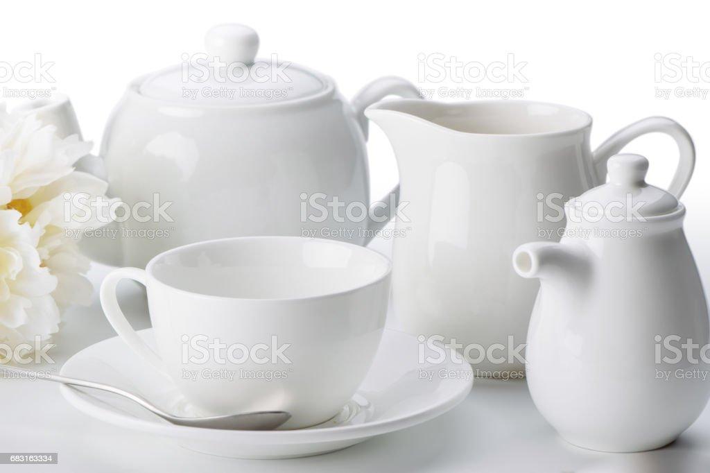 China tea set close-up isolated on white background stock photo