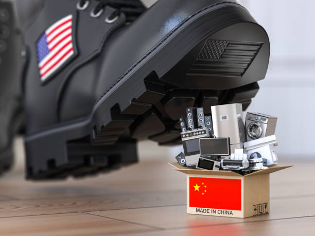 USA China technology war and market conflict.  Economic trade war concept. Cardbox with appliance made in China and american military boot above it. USA China technology war and market conflict.  Economic trade war concept. Cardbox with appliance made in China and american military boot above it. 3d illustration trade war stock pictures, royalty-free photos & images