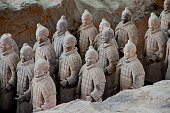 Army of Terracotta Warriors near Xian, China.  These Clay statues are Chinese Qin dynasty soldiers