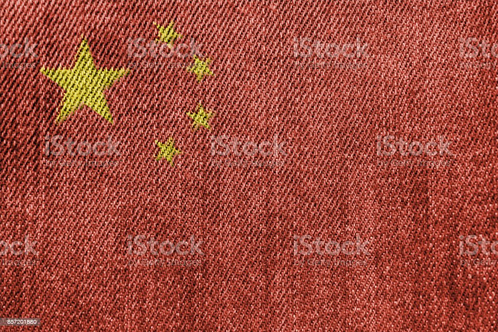 China Textile Industry Or Politics Concept: Chinese Flag Denim Jeans...