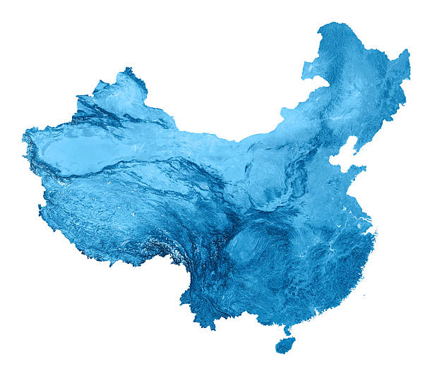 China Topographic Karte Isoliert – Foto