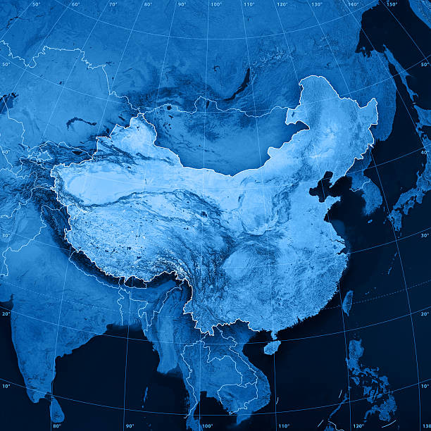 China Topographic Map stock photo