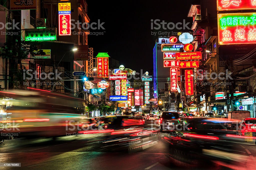 China Town  at night long exposure of car light stock photo