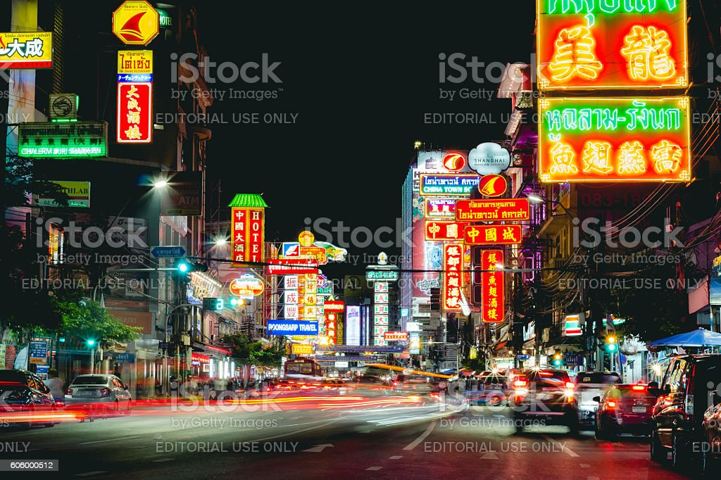 China town Yaowarat road, Bangkok Thailand stock photo
