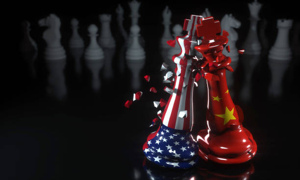 USA China Trade Conflict Trade War, Business War, US China, Chess, Game, Shatter, Broken trade war stock pictures, royalty-free photos & images